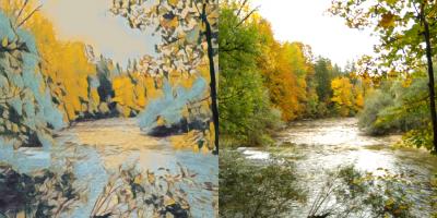 rivière et forêt en automne : photo et image dégradée